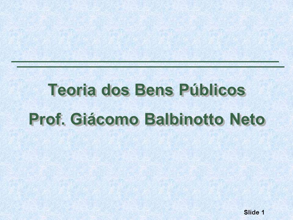 Teoria dos Bens Públicos Prof.Giácomo Balbinotto Neto Teoria dos Bens Públicos Prof.