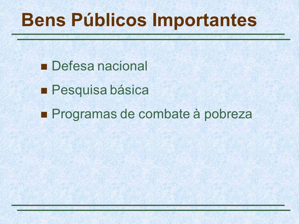 Bens Públicos Importantes Defesa nacional Pesquisa básica Programas de combate à pobreza