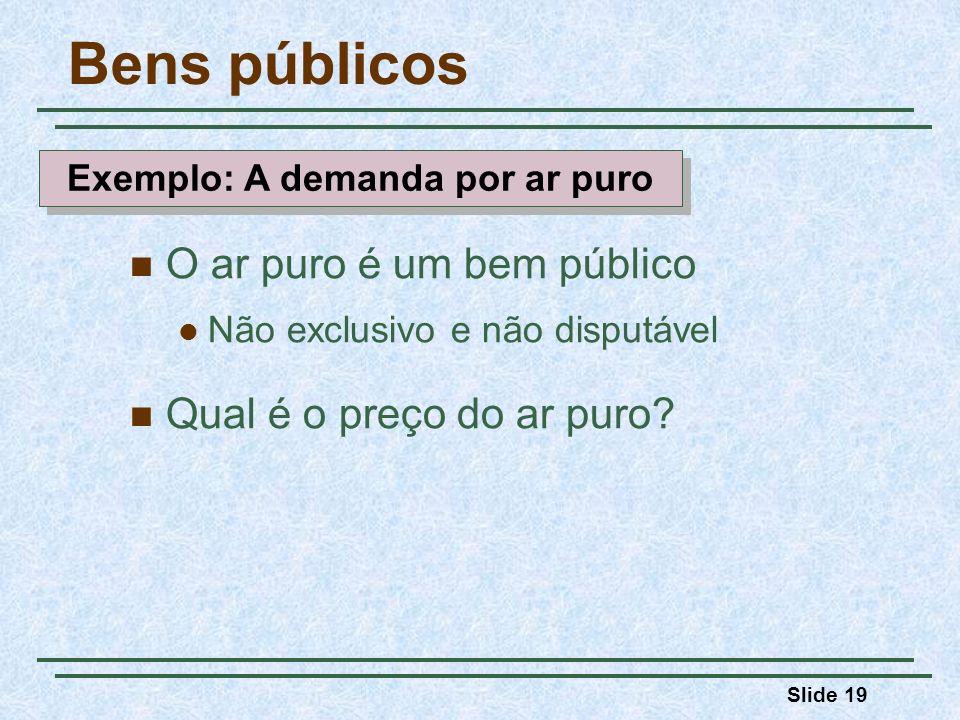 Slide 19 Bens públicos O ar puro é um bem público Não exclusivo e não disputável Qual é o preço do ar puro.