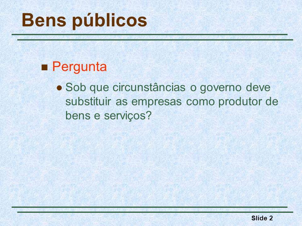 Slide 2 Bens públicos Pergunta Sob que circunstâncias o governo deve substituir as empresas como produtor de bens e serviços?