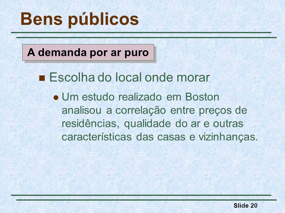Slide 20 Bens públicos Escolha do local onde morar Um estudo realizado em Boston analisou a correlação entre preços de residências, qualidade do ar e outras características das casas e vizinhanças.