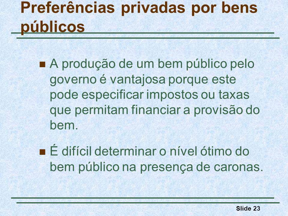 Slide 23 Preferências privadas por bens públicos A produção de um bem público pelo governo é vantajosa porque este pode especificar impostos ou taxas que permitam financiar a provisão do bem.