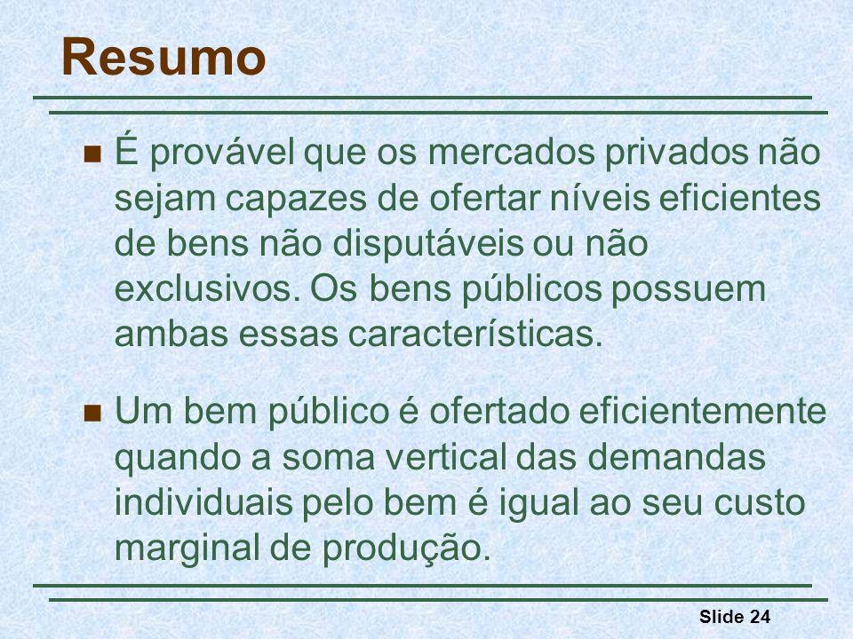 Slide 24 Resumo É provável que os mercados privados não sejam capazes de ofertar níveis eficientes de bens não disputáveis ou não exclusivos.