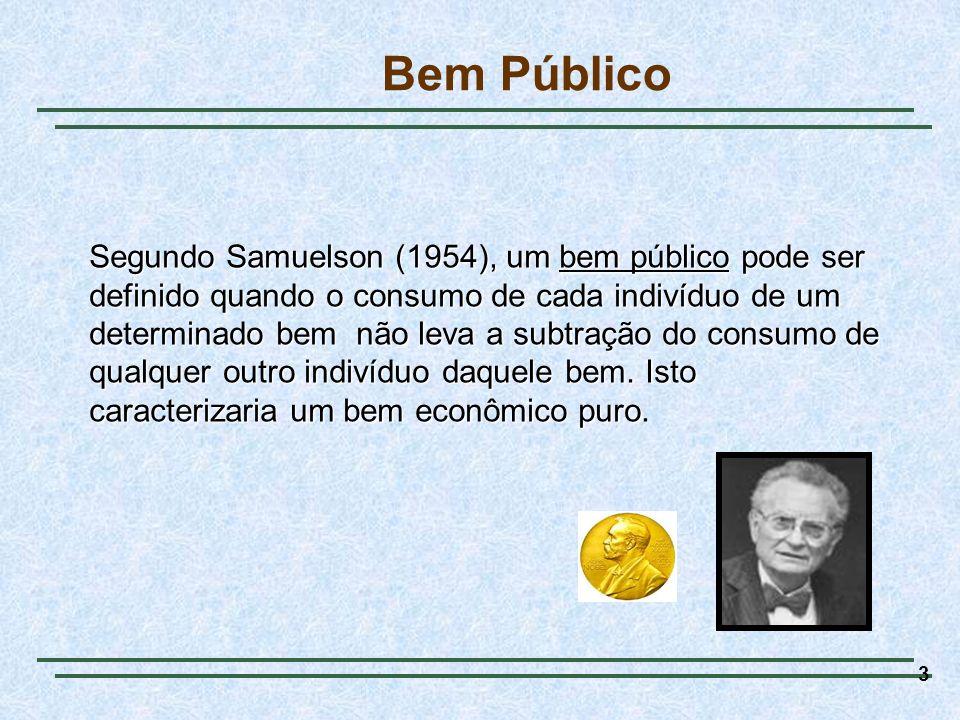 3 Bem Público Segundo Samuelson (1954), um bem público pode ser definido quando o consumo de cada indivíduo de um determinado bem não leva a subtração do consumo de qualquer outro indivíduo daquele bem.