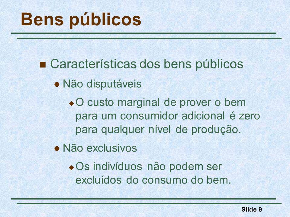 Slide 9 Bens públicos Características dos bens públicos Não disputáveis O custo marginal de prover o bem para um consumidor adicional é zero para qualquer nível de produção.