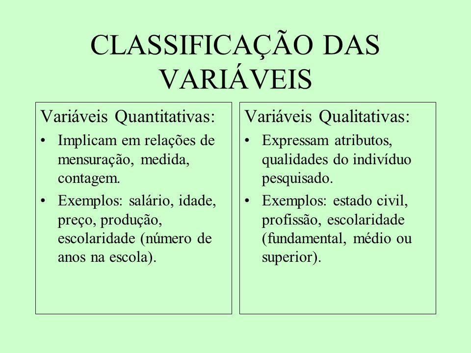 VARIÁVEIS QUALITATIVAS Ordinal: é possível atribuir alguma ordem aos indivíduos depois de atribuída a característica.