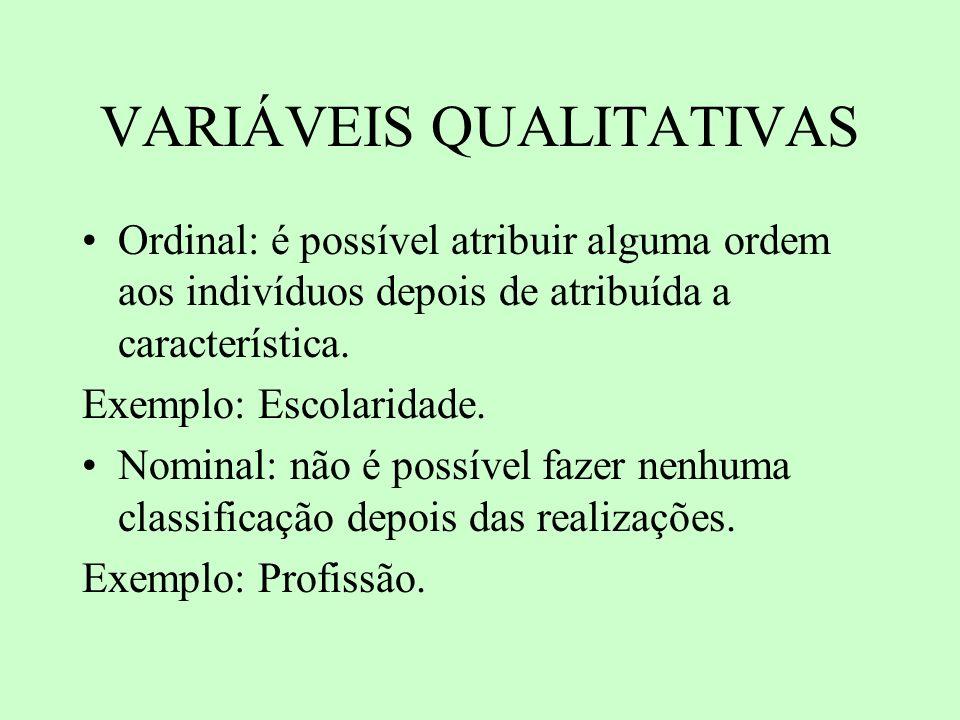 VARIÁVEIS QUANTITATIVAS Discreta: valores assumem um conjunto finito de valores possíveis.