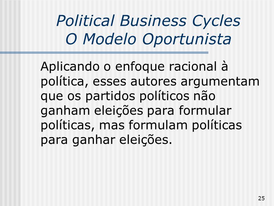 25 Political Business Cycles O Modelo Oportunista Aplicando o enfoque racional à política, esses autores argumentam que os partidos políticos não ganh