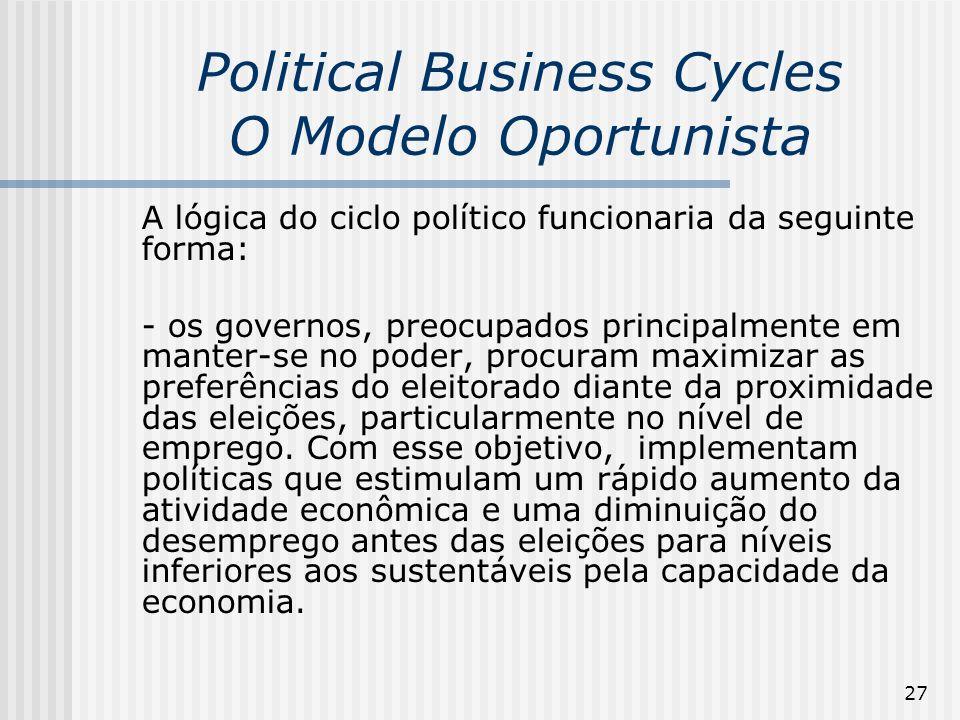 27 Political Business Cycles O Modelo Oportunista A lógica do ciclo político funcionaria da seguinte forma: - os governos, preocupados principalmente