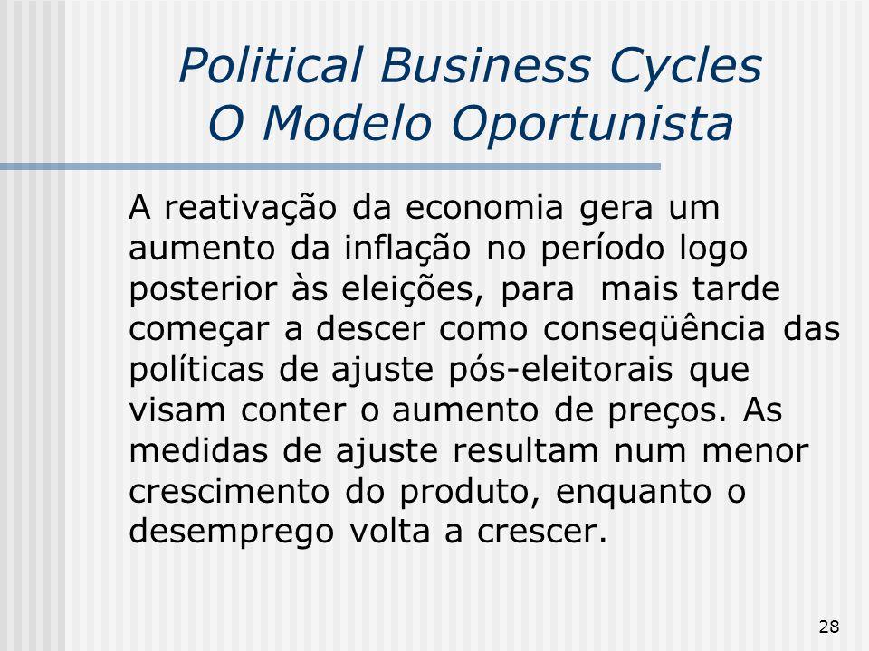 28 Political Business Cycles O Modelo Oportunista A reativação da economia gera um aumento da inflação no período logo posterior às eleições, para mai