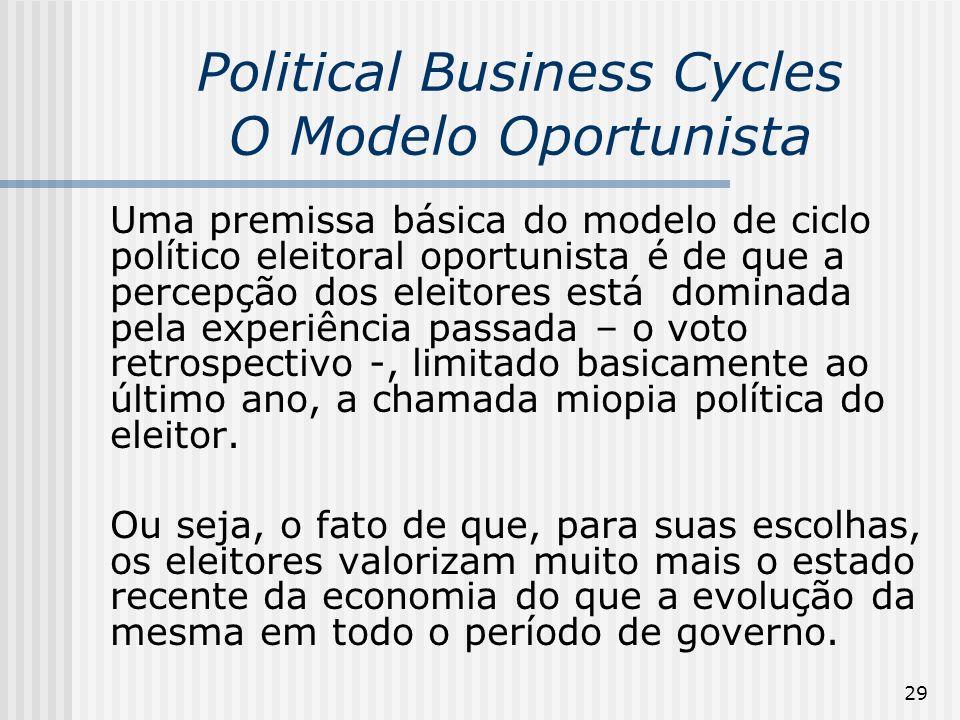 29 Political Business Cycles O Modelo Oportunista Uma premissa básica do modelo de ciclo político eleitoral oportunista é de que a percepção dos eleit