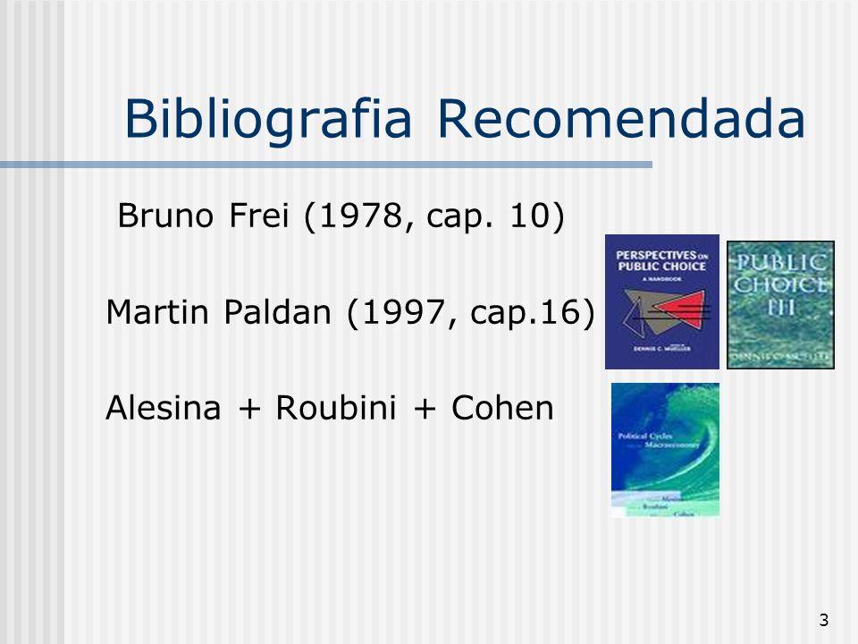 3 Bibliografia Recomendada Bruno Frei (1978, cap. 10) Martin Paldan (1997, cap.16) Alesina + Roubini + Cohen