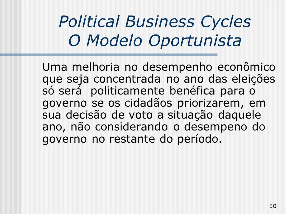 30 Political Business Cycles O Modelo Oportunista Uma melhoria no desempenho econômico que seja concentrada no ano das eleições só será politicamente