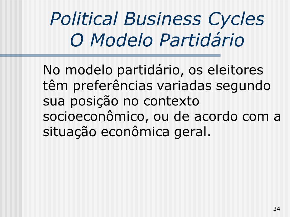 34 Political Business Cycles O Modelo Partidário No modelo partidário, os eleitores têm preferências variadas segundo sua posição no contexto socioeco