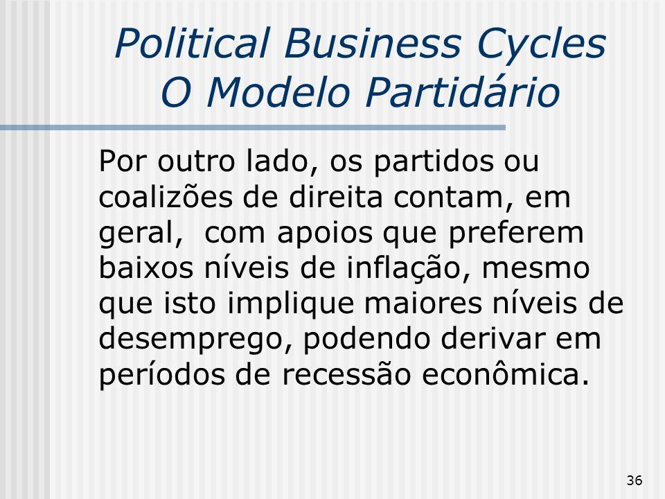 36 Political Business Cycles O Modelo Partidário Por outro lado, os partidos ou coalizões de direita contam, em geral, com apoios que preferem baixos