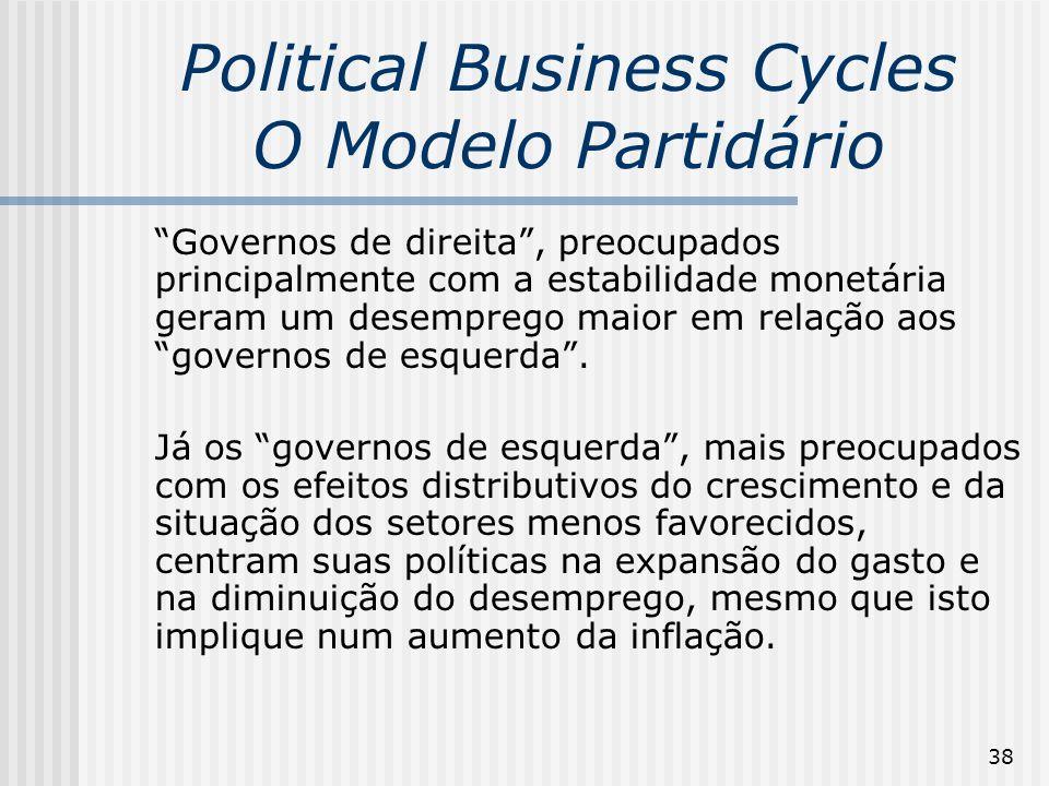 38 Political Business Cycles O Modelo Partidário Governos de direita, preocupados principalmente com a estabilidade monetária geram um desemprego maio