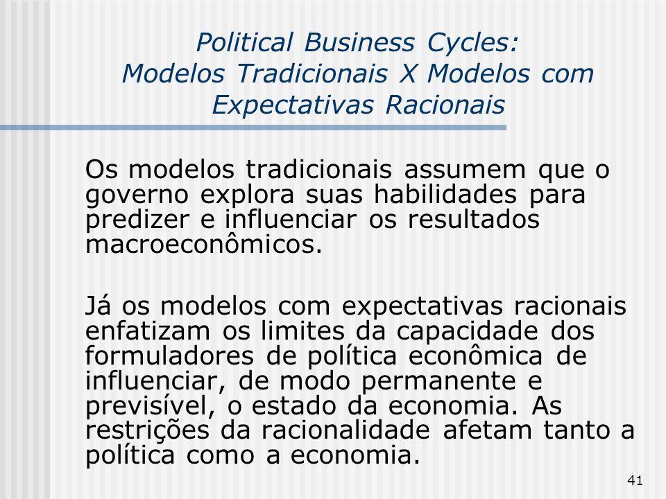 41 Political Business Cycles: Modelos Tradicionais X Modelos com Expectativas Racionais Os modelos tradicionais assumem que o governo explora suas hab