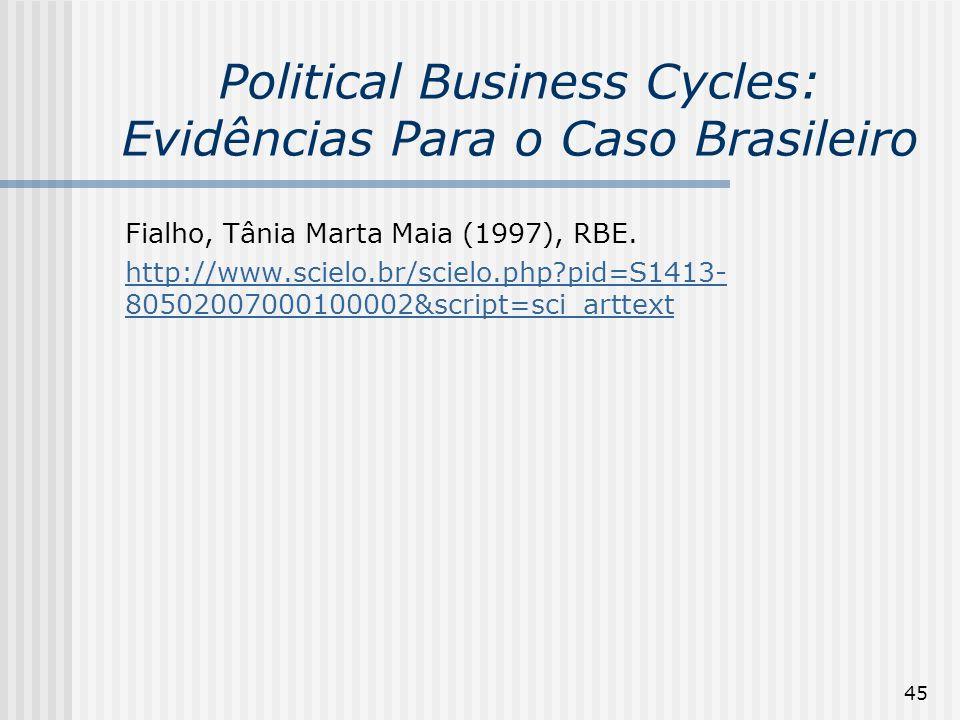 45 Political Business Cycles: Evidências Para o Caso Brasileiro Fialho, Tânia Marta Maia (1997), RBE. http://www.scielo.br/scielo.php?pid=S1413- 80502
