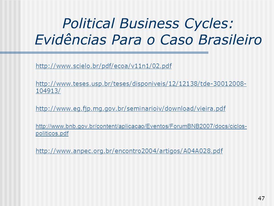 47 Political Business Cycles: Evidências Para o Caso Brasileiro http://www.scielo.br/pdf/ecoa/v11n1/02.pdf http://www.teses.usp.br/teses/disponiveis/1