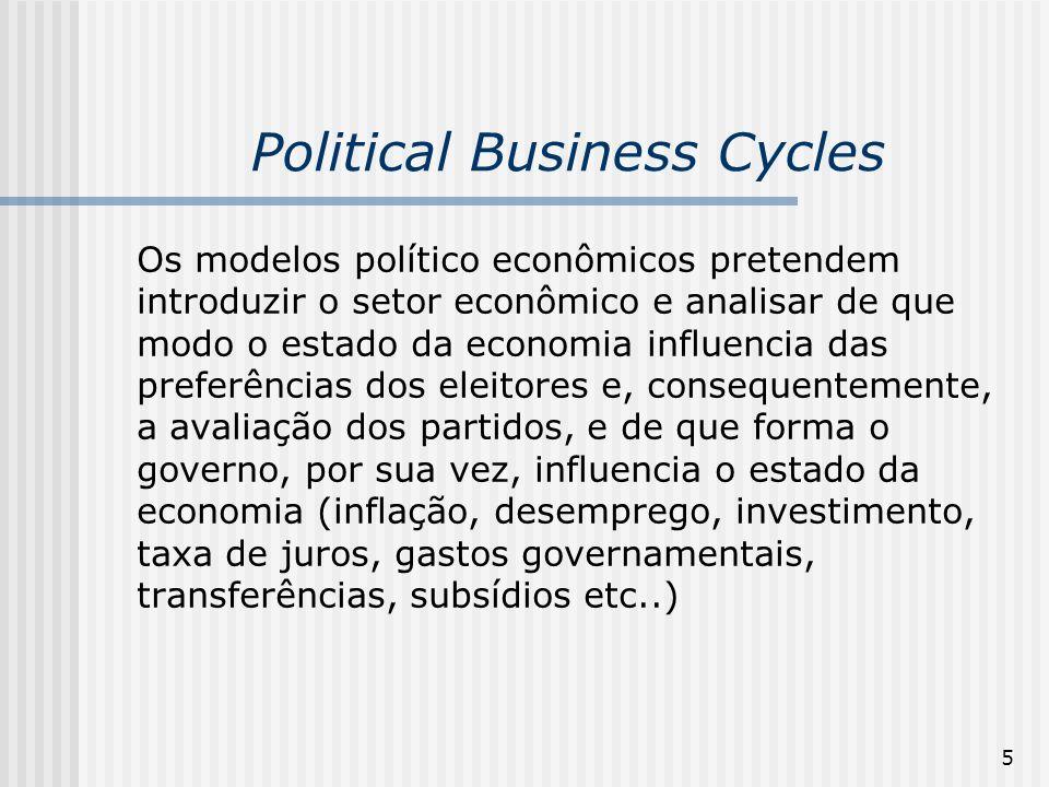 5 Political Business Cycles Os modelos político econômicos pretendem introduzir o setor econômico e analisar de que modo o estado da economia influenc