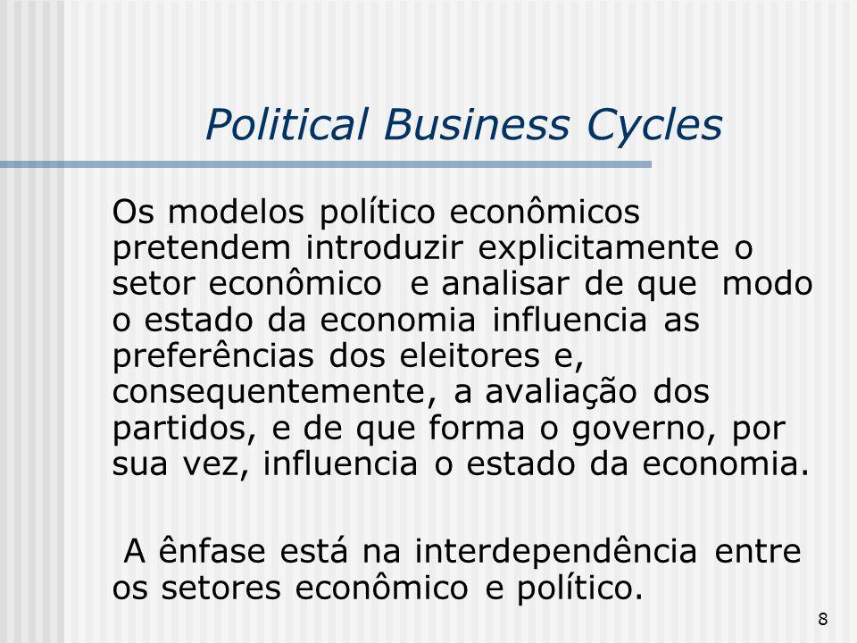 8 Political Business Cycles Os modelos político econômicos pretendem introduzir explicitamente o setor econômico e analisar de que modo o estado da ec