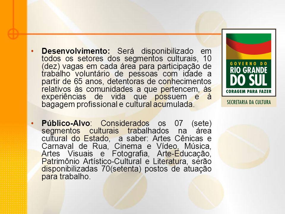 Desenvolvimento: Será disponibilizado em todos os setores dos segmentos culturais, 10 (dez) vagas em cada área para participação de trabalho voluntári