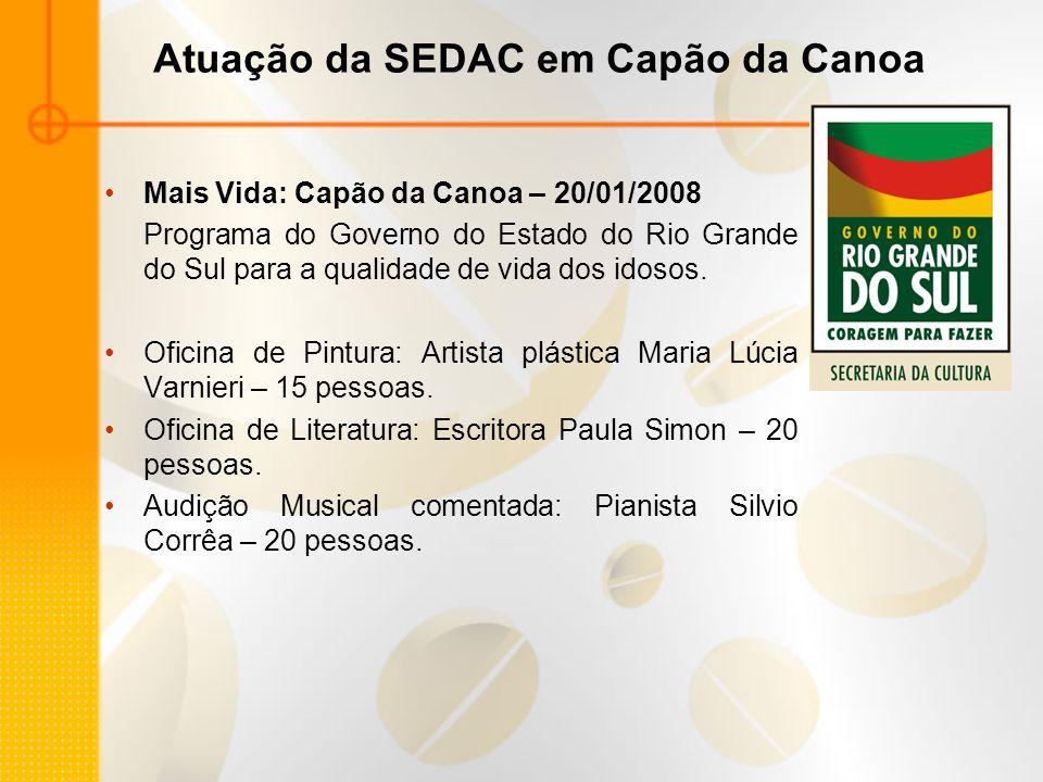 Atuação da SEDAC em Capão da Canoa Mais Vida: Capão da Canoa – 20/01/2008 Programa do Governo do Estado do Rio Grande do Sul para a qualidade de vida