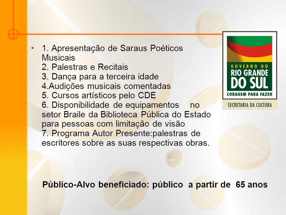 Instituições onde estão disponíveis as atividades e serviços culturais Casa de Cultura Mário Quintana Biblioteca Pública do Estado Discoteca pública Natho Henn Centro de Desenvolvimento da Expressão