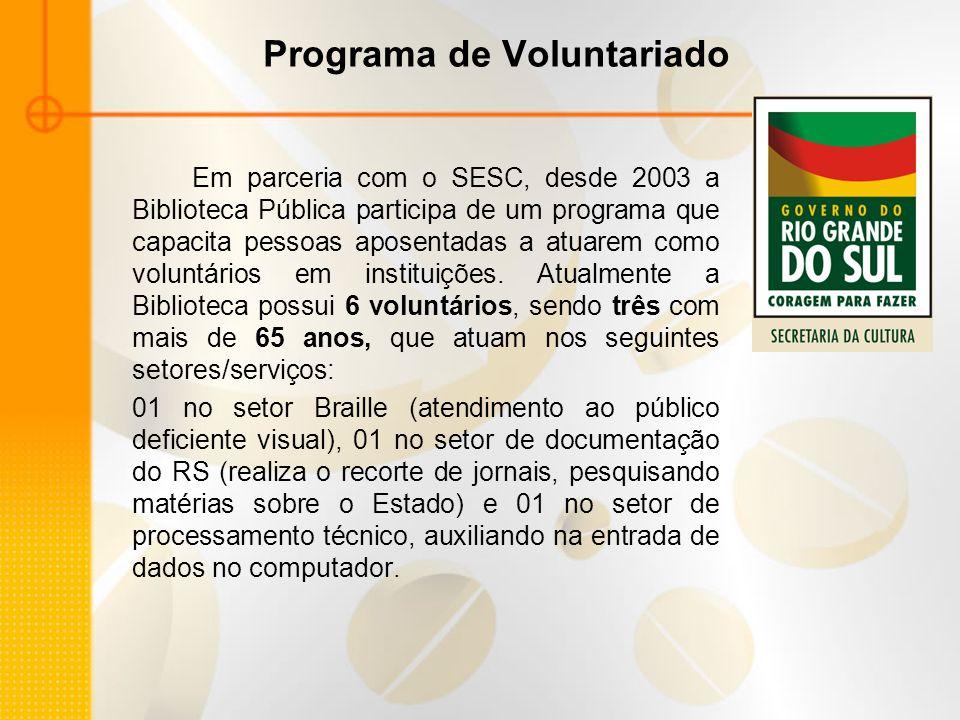 Programa de Voluntariado Em parceria com o SESC, desde 2003 a Biblioteca Pública participa de um programa que capacita pessoas aposentadas a atuarem c