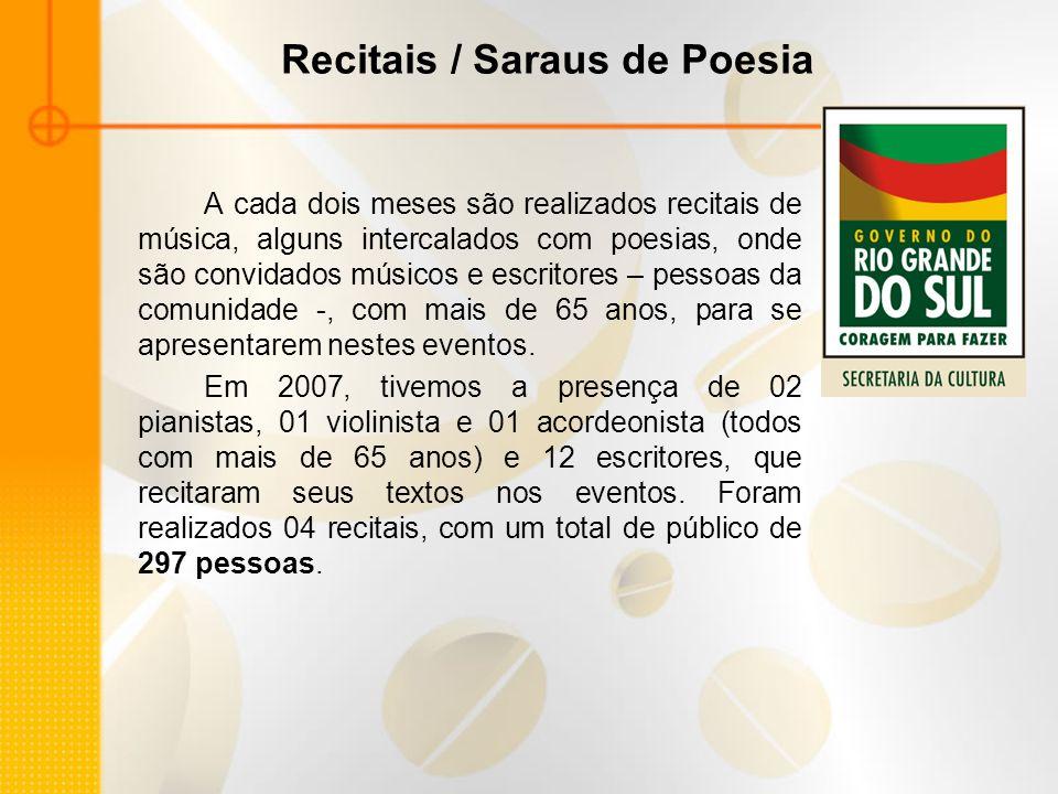 Recitais / Saraus de Poesia A cada dois meses são realizados recitais de música, alguns intercalados com poesias, onde são convidados músicos e escrit