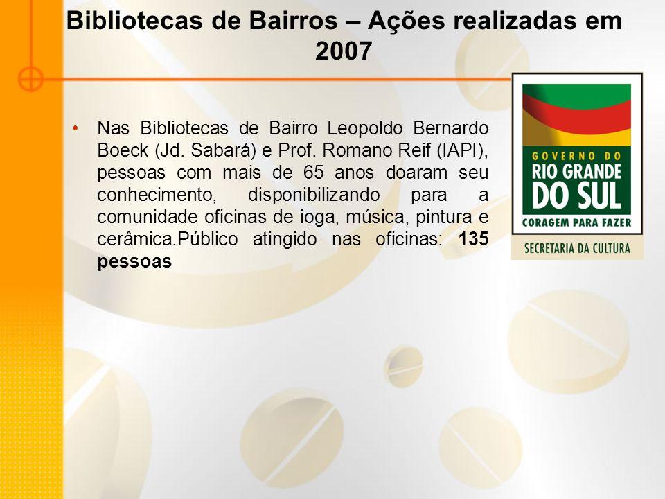 Bibliotecas de Bairros – Ações realizadas em 2007 Nas Bibliotecas de Bairro Leopoldo Bernardo Boeck (Jd. Sabará) e Prof. Romano Reif (IAPI), pessoas c