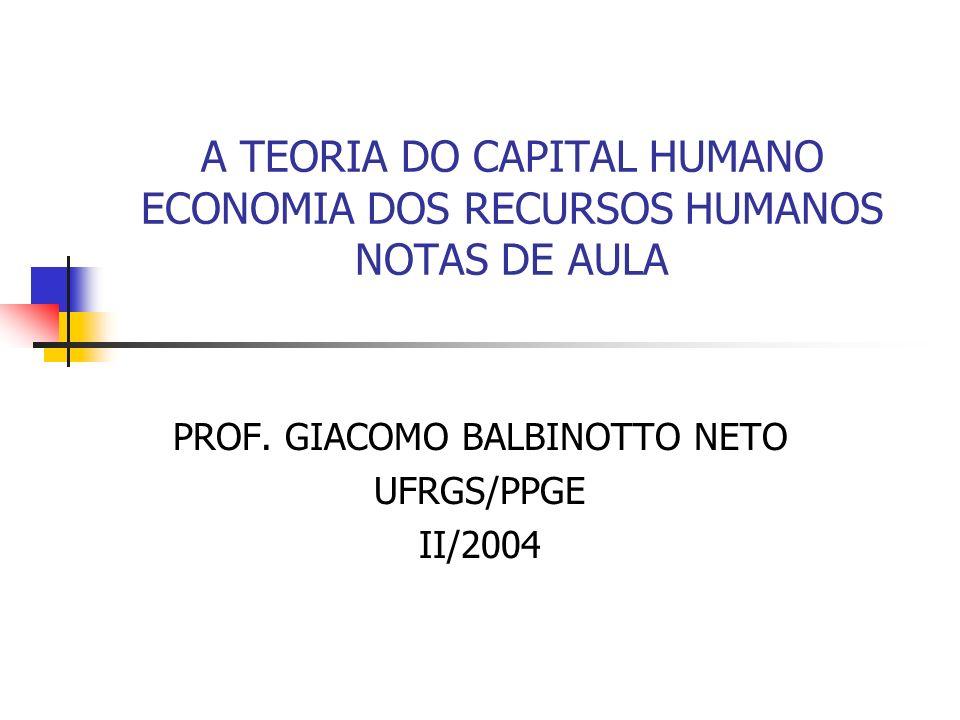 2 Definições de Capital Humano Gary Becker (1962) - capital humano é qualquer atividade que implique num custo no período corrente e que aumente a produtividade no futura pode ser analisada dentro da estrutura da teoria do investimento.