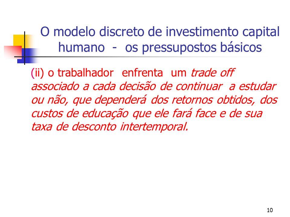 10 O modelo discreto de investimento capital humano - os pressupostos básicos (ii) o trabalhador enfrenta um trade off associado a cada decisão de con