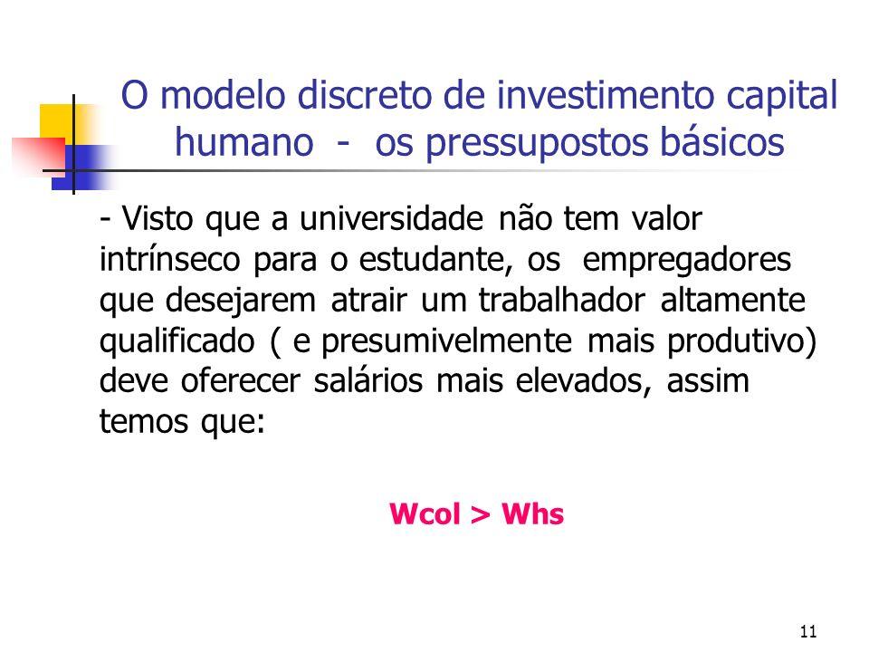 11 O modelo discreto de investimento capital humano - os pressupostos básicos - Visto que a universidade não tem valor intrínseco para o estudante, os