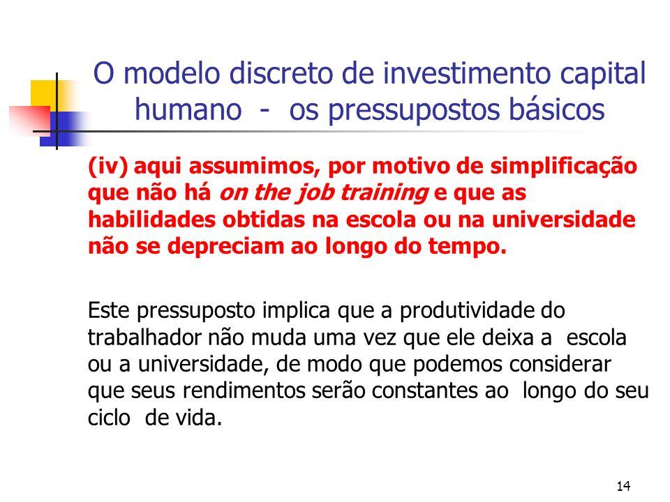 14 O modelo discreto de investimento capital humano - os pressupostos básicos (iv) aqui assumimos, por motivo de simplificação que não há on the job t