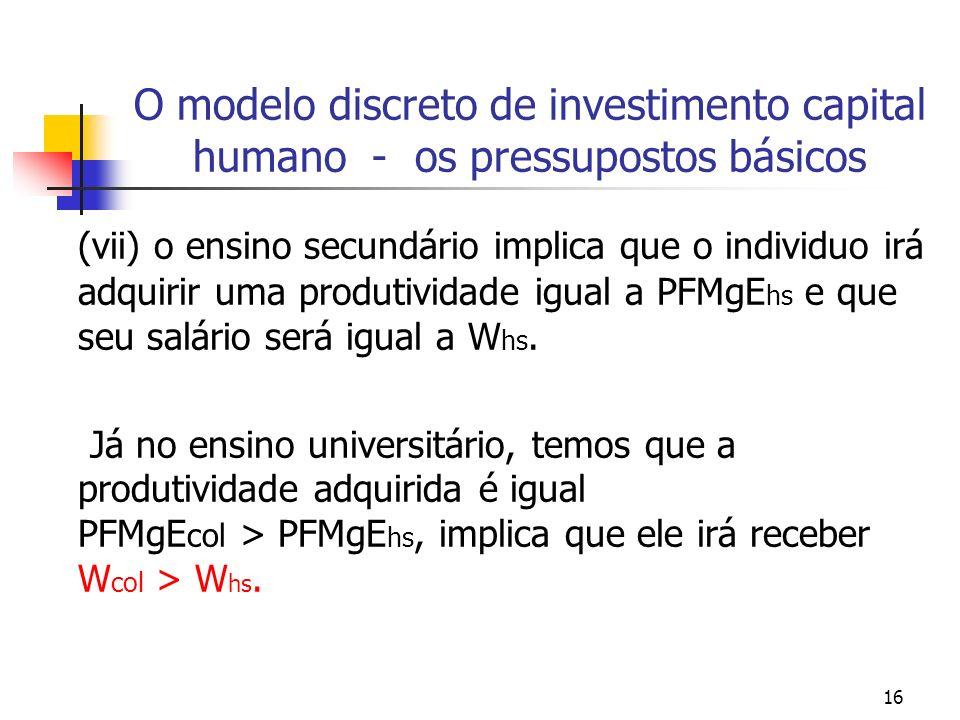 16 O modelo discreto de investimento capital humano - os pressupostos básicos (vii) o ensino secundário implica que o individuo irá adquirir uma produ
