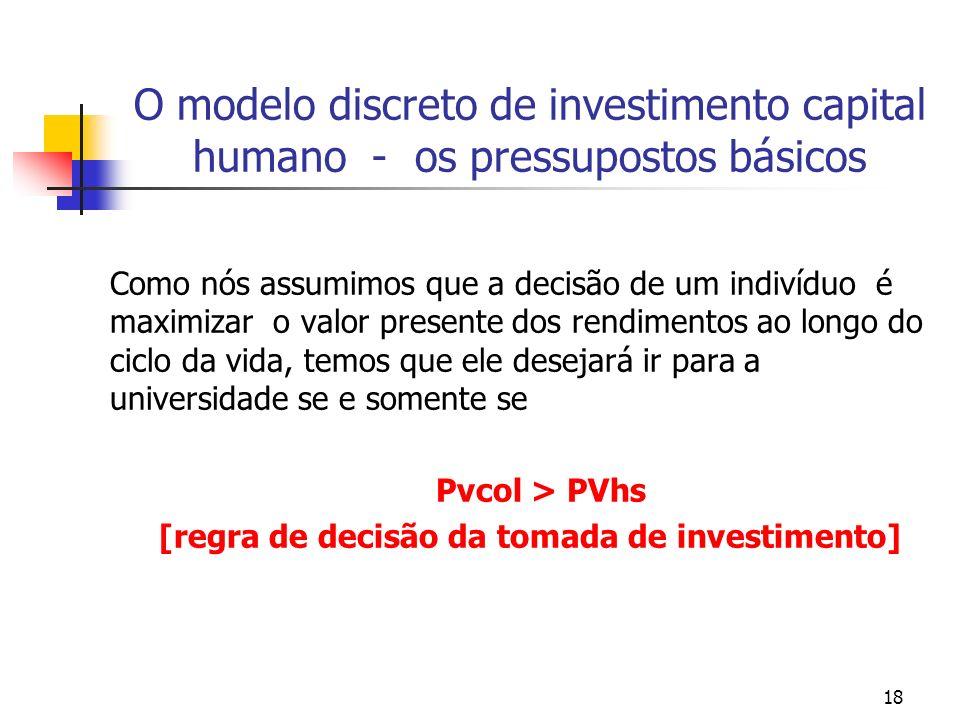 18 O modelo discreto de investimento capital humano - os pressupostos básicos Como nós assumimos que a decisão de um indivíduo é maximizar o valor pre