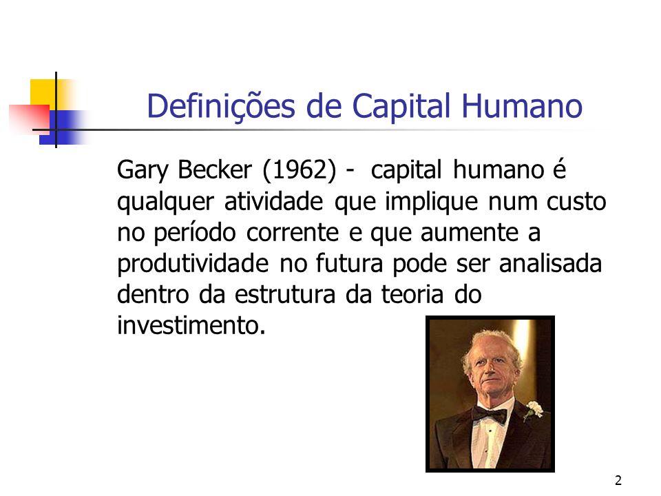 2 Definições de Capital Humano Gary Becker (1962) - capital humano é qualquer atividade que implique num custo no período corrente e que aumente a pro