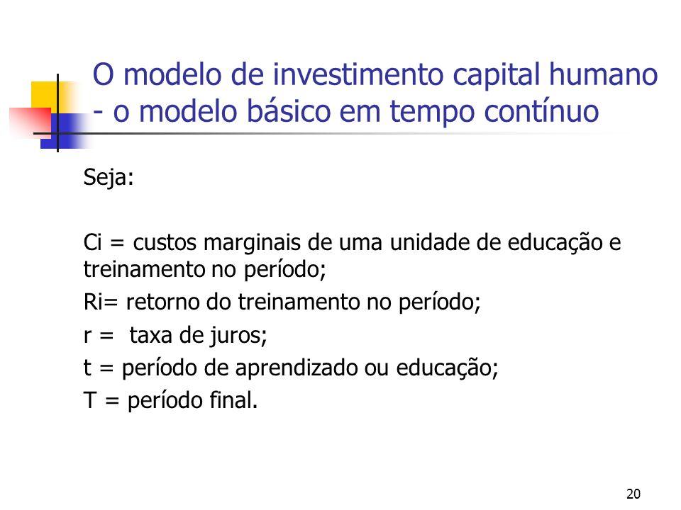 20 O modelo de investimento capital humano - o modelo básico em tempo contínuo Seja: Ci = custos marginais de uma unidade de educação e treinamento no