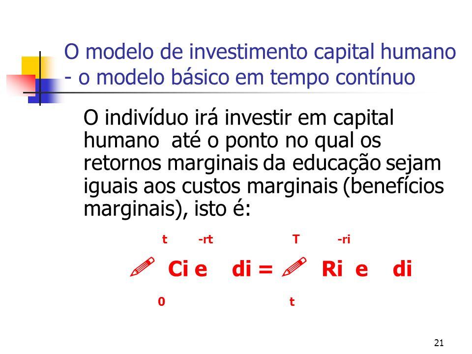 21 O modelo de investimento capital humano - o modelo básico em tempo contínuo O indivíduo irá investir em capital humano até o ponto no qual os retor
