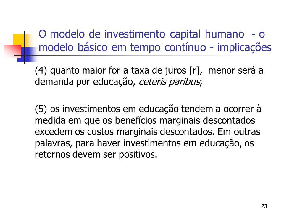23 O modelo de investimento capital humano - o modelo básico em tempo contínuo - implicações (4) quanto maior for a taxa de juros [r], menor será a de