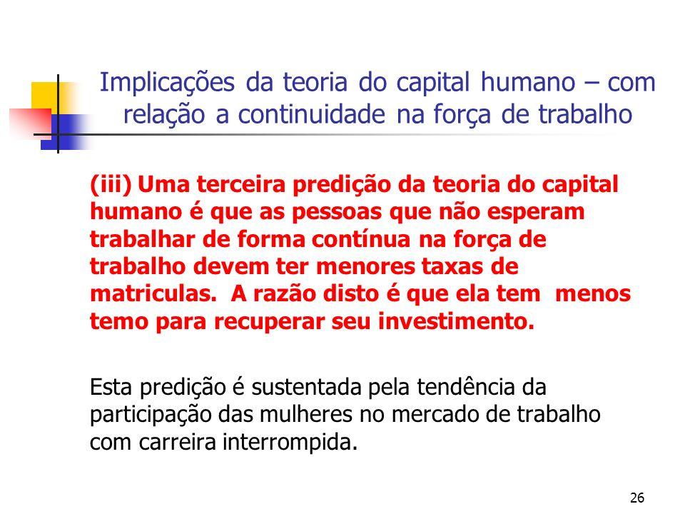 26 Implicações da teoria do capital humano – com relação a continuidade na força de trabalho (iii) Uma terceira predição da teoria do capital humano é
