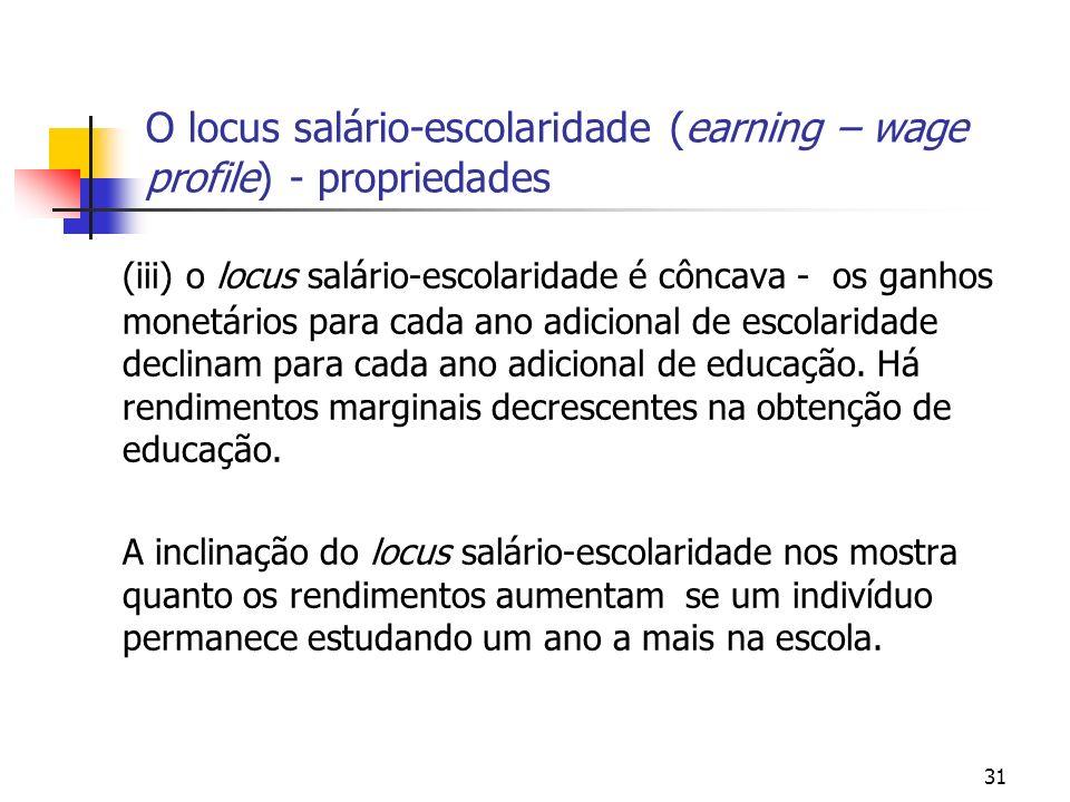 31 O locus salário-escolaridade (earning – wage profile) - propriedades (iii) o locus salário-escolaridade é côncava - os ganhos monetários para cada