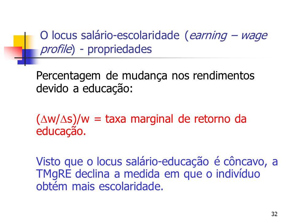 32 O locus salário-escolaridade (earning – wage profile) - propriedades Percentagem de mudança nos rendimentos devido a educação: ( w/ s)/w = taxa mar