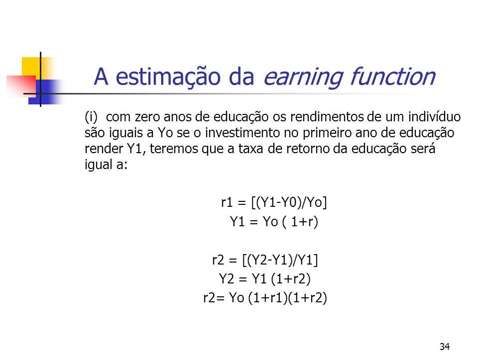 34 A estimação da earning function (i) com zero anos de educação os rendimentos de um indivíduo são iguais a Yo se o investimento no primeiro ano de e