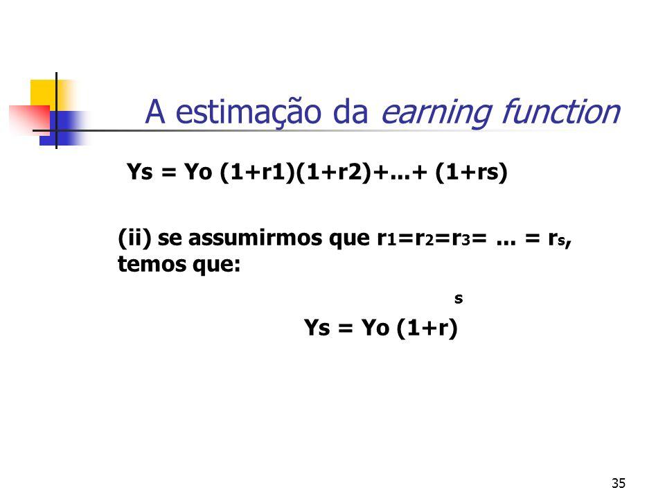 35 A estimação da earning function Ys = Yo (1+r1)(1+r2)+...+ (1+rs) (ii) se assumirmos que r 1 =r 2 =r 3 =... = r s, temos que: s Ys = Yo (1+r)