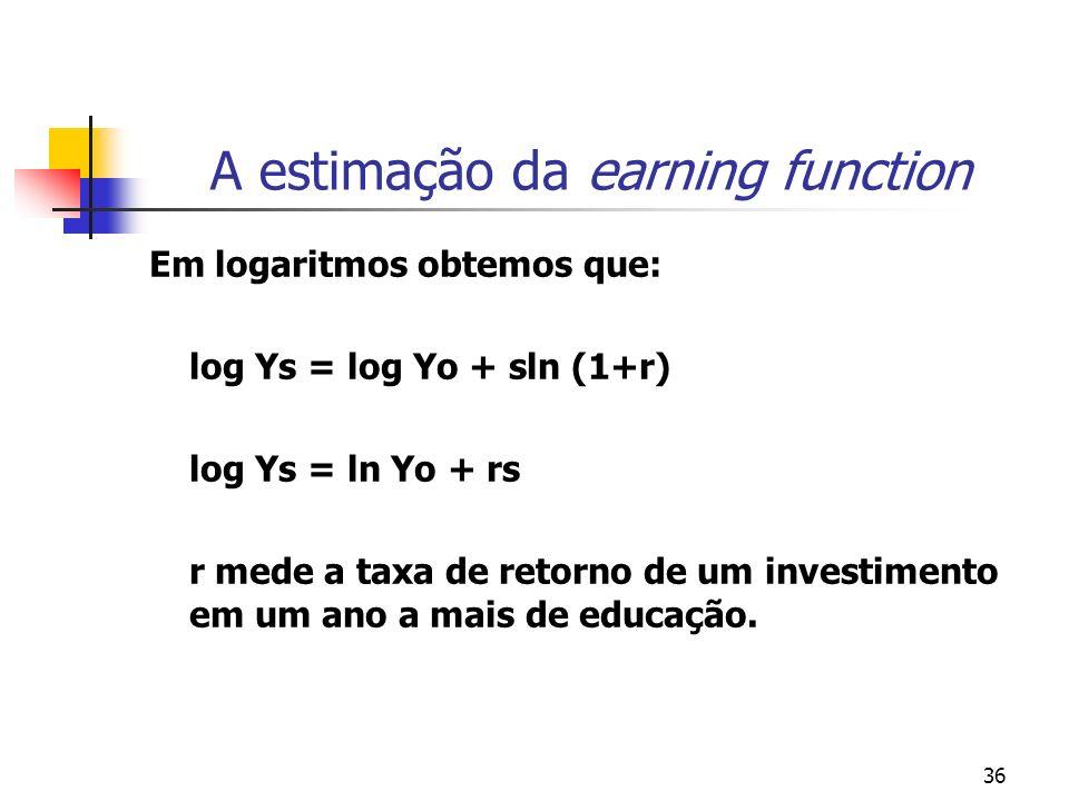 36 A estimação da earning function Em logaritmos obtemos que: log Ys = log Yo + sln (1+r) log Ys = ln Yo + rs r mede a taxa de retorno de um investime