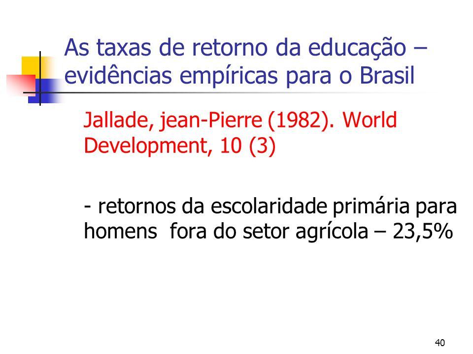 40 As taxas de retorno da educação – evidências empíricas para o Brasil Jallade, jean-Pierre (1982). World Development, 10 (3) - retornos da escolarid