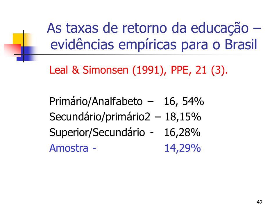 42 As taxas de retorno da educação – evidências empíricas para o Brasil Leal & Simonsen (1991), PPE, 21 (3). Primário/Analfabeto – 16, 54% Secundário/