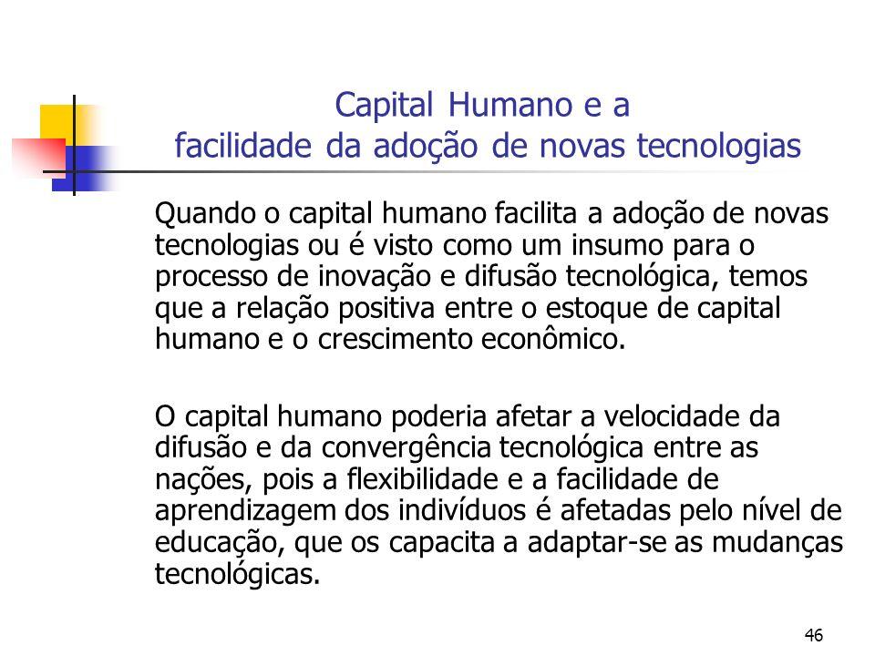 46 Capital Humano e a facilidade da adoção de novas tecnologias Quando o capital humano facilita a adoção de novas tecnologias ou é visto como um insu
